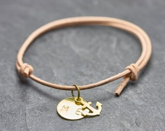 Anchor bracelet engraved Friendship Bracelet letter nude