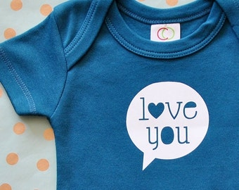 Love You Baby Bodysuit for Boys and Girls - Short Sleeve Organic Cotton Body Suit in Teal