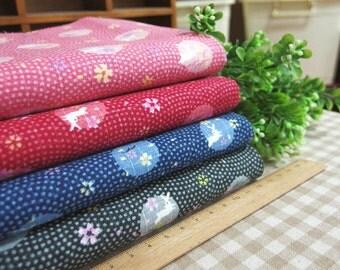 Japanese Cotton Linen Fabric with Sakura and Rabbit Kimono Yukata Fabric Slub Cotton Linen ,for Clothing ,Tablecloth ETC -- Half Yard
