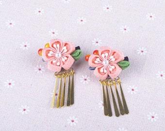 Handmade Japanese Traditional Tsumami Kanzashi Hair Clip Pin with Golden Falls Kimono Yukata Outfit Wedding Ornament Pink Sakura  Flower