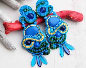 Blue Soutache Earrings-Large Statement Earrings-Blue Long Ethnic Earrings-Hippie Boho Earrings-Dangle Beaded Earrings-Soutache Jewellery