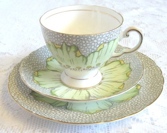 Vintage Royal Tuscan Tea Trio, Lotus Pattern, Pale Green and Yellow, Hand Painted, REDUCED