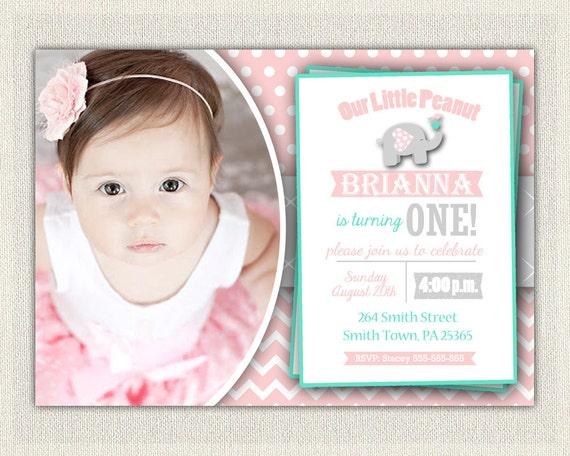 First Birthday Invitation Girls Pink Grey Elephant Download 1st Birthday Photo Invitation Invites Chalkboard Bunting / DIY Digital (188