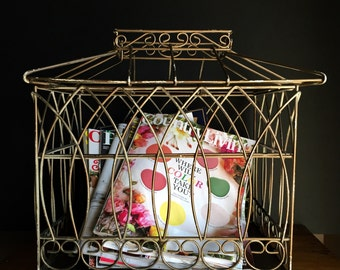 Vintage Metal Birdcage / Bird Cage / Wedding / Magazine Holder