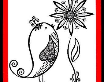 Wall Art - Whimsical Bird & Flower - Drawing - OOAK