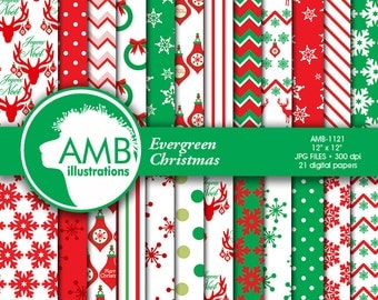 Christmas paper, Traditional Christmas, Holiday Backgrounds, Scrapbooking, commercial use, instant download, AMB-1121