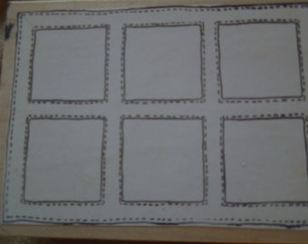 "Used and in VG condition stamp for papercraft, scrapbooking.  6 open blocks  1 1/2"" square, great for organizing, craft supplies"