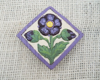 Hand Painted Wooden Pansy Refrigerator Magnet