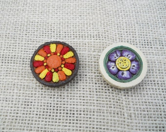 Two Hand Painted Wooden Round Refrigerator Magnets