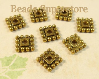 SALE 7 mm x 7 mm Antique Gold Square Spacer Bead - Nickel Free, Lead Free and Cadmium Free - 25 pcs