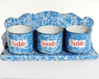 French Vintage Enamel Laundry Pots With Shelf/French Enamel Laundry Shelf With Pots/ Shabby Chic French Enamelware
