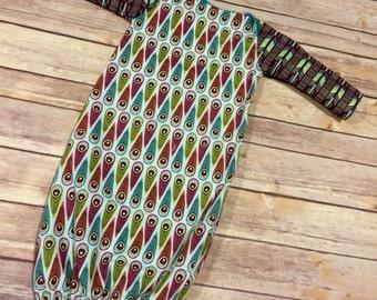 Handmade Cotton Feather & Modern Print Newborn Baby Gown