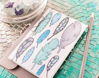 Feather Coloring Card and Envelope