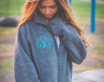 Monogrammed Ladies Fit Full Zip Fleece Jacket With Collar & Pockets Adult Small-3XL
