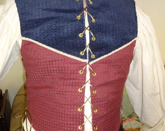 L burgundy/navy doublet with side lace up