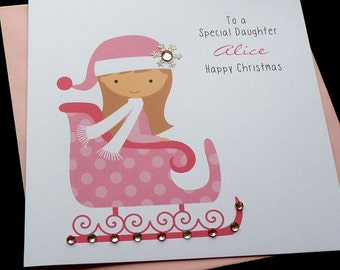 Pink Sleigh Personalised Childrens Christmas Card
