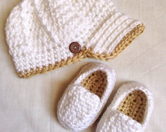 Newsboy Hat & Loafers Baby Boy Gift - Newborn Newsboy Hat - Baby Shower Gift - Baby Boy Shoe - Baby Boy Hat - New Baby Gift