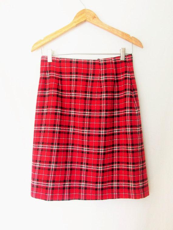 vintage school plaid knee length skirt by