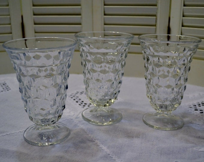 Vintage Wine Water Glass Set of 3 Cube Design Clear Glass Stemware Glassware PanchosPorch