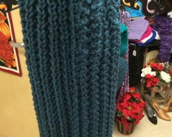Chunky weight hand knit winter scarf ready to ship.