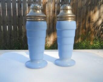 Vintage Glass Salt & Pepper Shakers Set, blue