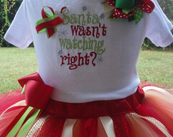 Girls Christmas Outfit- Girls Red Christmas Outfit  Christmas Tutu - Santa Tutu Outfit-Santa Outfit-Christmas Gift- Christmas Photo Prop