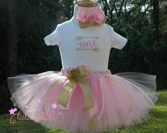 pink and gold wild one birthday outfit, baby's 1st birthday tutu boHo birthday outfit,girls 1st birthday,one  year old birthday  tutu,