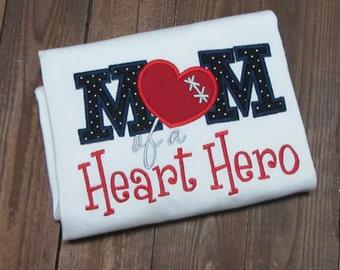 Heart mom applique shirt - CHD mom Embroidered Shirt - chd awareness shirt - CHD awareness week- girls chd shirt