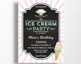 Ice Cream Invitation Ice Cream Party Parlor Parlour Printable Pink Mint Social Chalkboard Blackboard Birthday 1st 2nd 3rd 4th 5th 6th