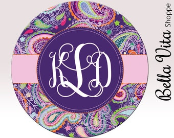 Monogrammed Mouse Pad - Pretty Purple Paisley with Monogram - Personalized Mouse Pad - Round or Rectangle 7064