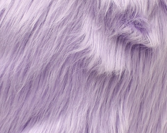 "Faux Fur Long Pile Shaggy LILAC / 60"" Wide / Sold by the yard"