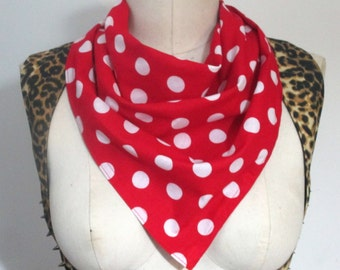 White Red Polka dots Rockabilly Scarf 50 s Pinup Vintage Retro Rosie the Riveter