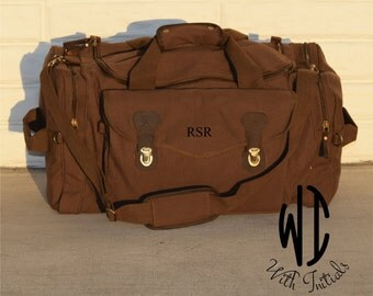 Set of 6 Personalized Groomsmen Gift, Military Style Weekend Travel Duffel Bag Canvas Weekender, wedding gift, dad gift, graduation gift,