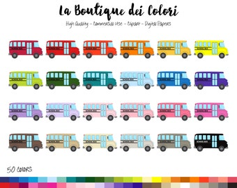 50 School Bus Clipart, Digital illustrations PNG, Yellow Busses, kids, back to school Clip art, Classroom Planner Stickers Commercial Use