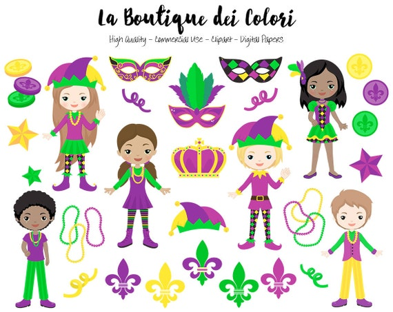 Cute Mardi Gras Clip art, Digital Graphics PNG, Carnival, Fleur de ...
