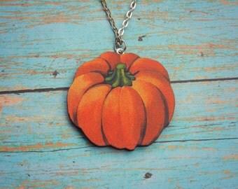 Wood Pumpkin Necklace//Pumpkin Patch//Harvest//Fall//Autumn//October//November//Halloween Jewelry