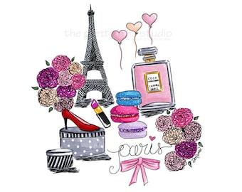 Fashion illustration, Paris wall art, Paris illustration, Eiffel Tower wall art,Paris fashion,Wall art chic,Paris bedroom decor,Chanel print
