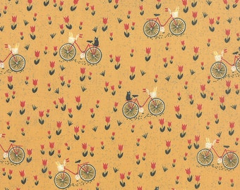 Mon Ami Creme Bicyclette Moutarde by Basic Grey for Moda, 1/2 yard, 30413 14