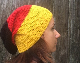 Crocheted Hat Womens Hat, Slouchy Beanie Hat, Crochet yellow red black winter hat,   Crochet Hat Womens Hat - slouchy Hat  women's  hat