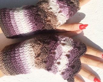 Fingerless Gloves, multicolor purple brown fingerless Crochet Arm Warmers  winter gloves arm armer winter gloves, winter fingerless