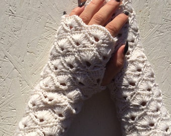 Ready to ship! wedding Fingerless gloves women winter gloves bridal shoes Half Gloves crocheted white  fingerless  spring, winter accessory