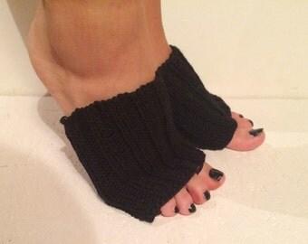 new! black Hand Knitted Flip-flop Socks Toeless Socks, black Flip Flop Sox, Dance, Yoga Pilates Socks, Footwarmers, foot guards, foot savers