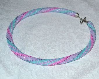 Crochet necklace Seed bead rope Beaded crochet rope necklace Beaded Crochet necklace