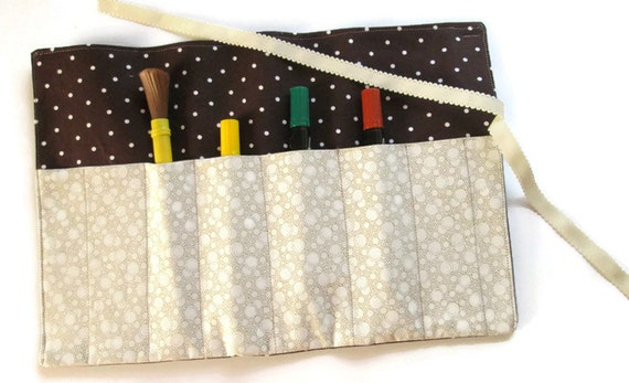 Fabric Roll Up Paint Brush Holder