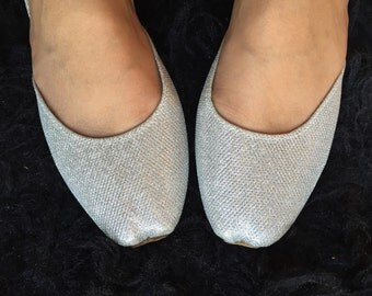 Silver Bridal shoes wedding shoes Flat silver shoes flat shoes slippers women shoes flat Asian shoes bridal shoes wedding shoes by Sami
