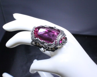 Ring Pink Topaz with Floral Design...