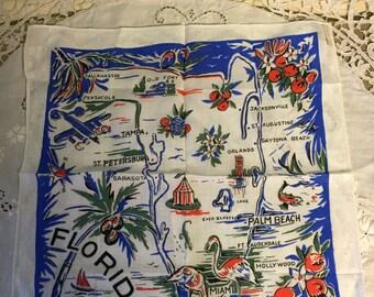 Vintage 1960s Florida Hankerchief/Florida Hankie/Vintage State Hankerchief/New Old Stock Hankerchief/New Deadstock Vintage Hankie
