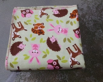 Woodland Animals in Green Flannel Receiving or Swaddling Blanket, Double Layer, 2 Layer Serged Blanket, Crib or Stroller Blanket