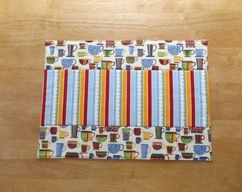 Sale - Handmade Quilted Patchwork Placemat with Coffee and Stripes Print Fabrics, Unique and Fun, Table Topper