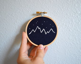 Mountain and Stars Embroidery Hoop Art - Wall Hanging - Navy Blue Linen and White - 3 inch Embroidery Hoop